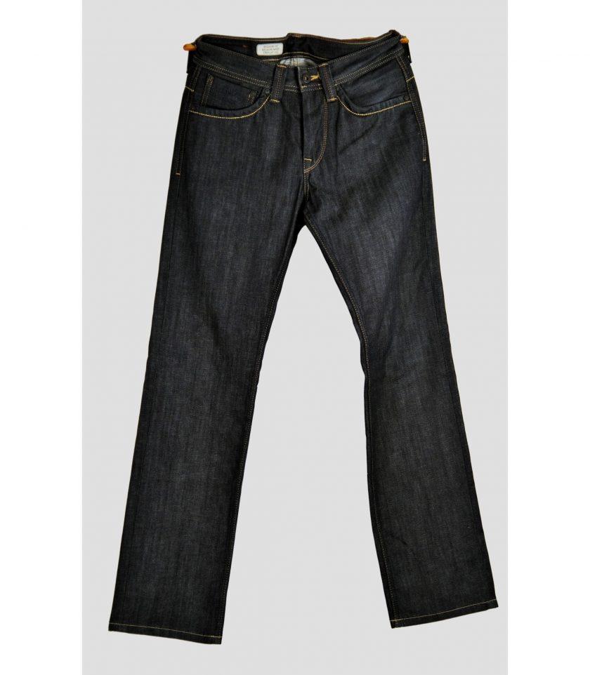 Bild von Jeans Hosen für Herren von Peppe jeans London. Dunkel blau denim mit hell braunen Naehten auf dem Saum und den Einstecktaschen. Second Hand Ware - Projekt Carla Styria